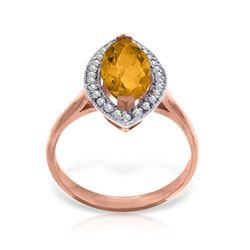 Genuine 1.80 ctw Citrine & Diamond Ring Jewelry 14KT Rose Gold - REF-70V5W