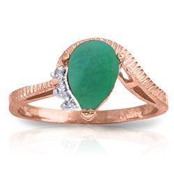 Genuine 1.02 ctw Emerald & Diamond Ring Jewelry 14KT Rose Gold - REF-58M2T