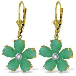 Genuine 4.43 ctw Emerald & Diamond Earrings Jewelry 14KT Yellow Gold - REF-74V9W
