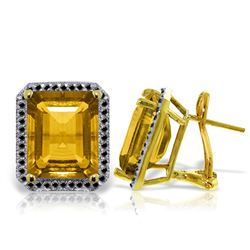 Genuine 10.80 ctw Citrine & Black Diamond Earrings Jewelry 14KT Yellow Gold - REF-127K4V