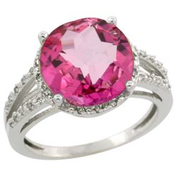 Natural 5.34 ctw Pink-topaz & Diamond Engagement Ring 10K White Gold - REF-35F4N