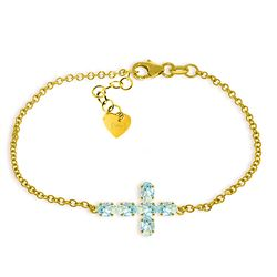 Genuine 1.70 ctw Aquamarine Bracelet Jewelry 14KT Yellow Gold - REF-63A8K