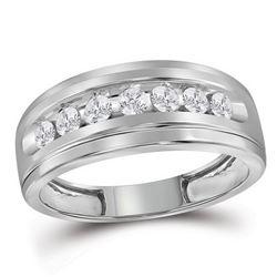 0.48 CTW Mens Diamond Wedding Ring 10KT White Gold - REF-37F5N