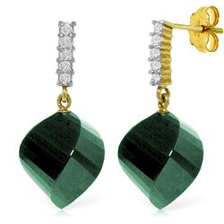 Genuine 30.65 ctw Green Sapphire Corundum & Diamond Earrings Jewelry 14KT Yellow Gold - REF-59V9W