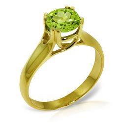 Genuine 1.10 ctw Peridot Ring Jewelry 14KT Yellow Gold - REF-57M3T
