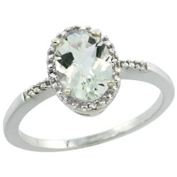 Natural 1.2 ctw Green-amethyst & Diamond Engagement Ring 14K White Gold - REF-23Y2X