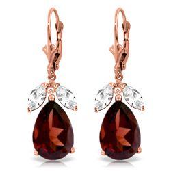 Genuine 13 ctw Garnet & White Topaz Earrings Jewelry 14KT Rose Gold - REF-69T3A
