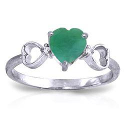 Genuine 1.01 ctw Emerald & Diamond Ring Jewelry 14KT White Gold - REF-51F2Z