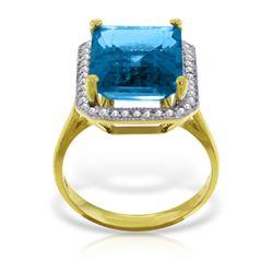 Genuine 7.8 ctw Blue Topaz & Diamond Ring Jewelry 14KT Yellow Gold - REF-84W3Y