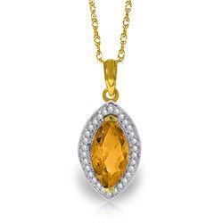Genuine 1.80 ctw Citrine & Diamond Necklace Jewelry 14KT Yellow Gold - REF-61K6V