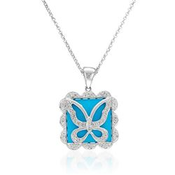 4.9 CTW Turquoise & Diamond Necklace 14K White Gold - REF-41H9M