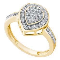 0.20 CTW Diamond Heart Ring 10KT Yellow Gold - REF-26Y9X