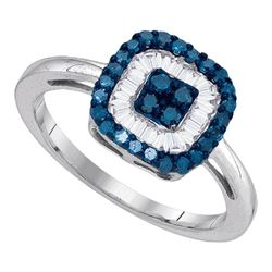 0.43 CTW Blue Color Diamond Square Cluster Ring 10KT White Gold - REF-26F9N