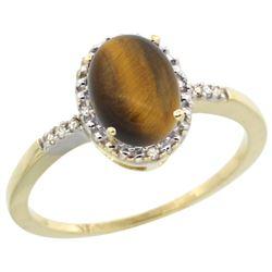 Natural 1.06 ctw Tiger-eye & Diamond Engagement Ring 10K Yellow Gold - REF-15K9R