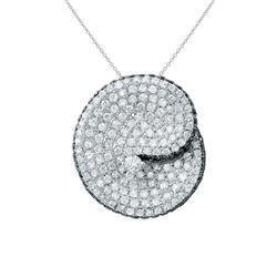 2.38 CTW White & Black Diamond Necklace 14K White Gold - REF-160F2N