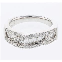 0.93 CTW Diamond Ring 18K White Gold - REF-117W3H