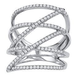 0.50 CTW Diamond Crossover Strand Fashion Ring 10KT White Gold - REF-37K5W