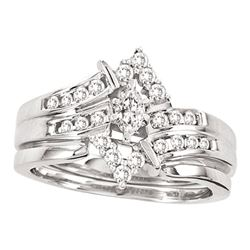 0.50 CTW Marquise Diamond Bridal Engagement Ring 14KT White Gold - REF-59H9M