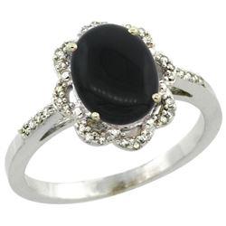 Natural 1.89 ctw Onyx & Diamond Engagement Ring 10K White Gold - REF-27A3V