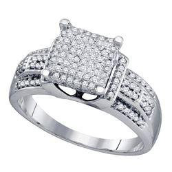 0.40 CTW Diamond Square Cluster Bridal Engagement Ring 10KT White Gold - REF-41N3F