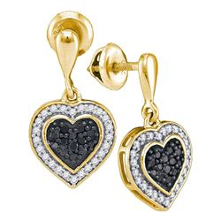 0.50 CTW Black Color Diamond Heart Dangle Earrings 10KT Yellow Gold - REF-30X2Y