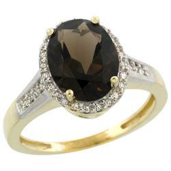 Natural 2.49 ctw Smoky-topaz & Diamond Engagement Ring 10K Yellow Gold - REF-31M9H