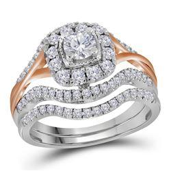 0.99 CTW Diamond Bridal Wedding Engagement Ring 14KT White Gold - REF-142M4H