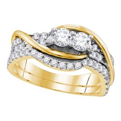 0.99 CTW Diamond 2-stone Bridal Wedding Engagement Ring 14KT Yellow Gold - REF-97Y4X
