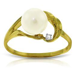 Genuine 2.02 ctw Pearl & Diamond Ring Jewelry 14KT Yellow Gold - REF-27Y2F