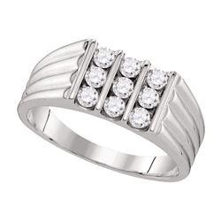 0.75 CTW Mens Diamond Triple Row Ribbed Wedding Ring 10KT White Gold - REF-89N9F