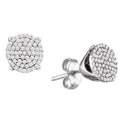 0.33 CTW Diamond Circle Cluster Stud Earrings 10KT White Gold - REF-26W3K