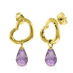 Genuine 4.5 ctw Amethyst Earrings Jewelry 14KT Yellow Gold - REF-42T6A