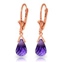 Genuine 4.5 ctw Amethyst Earrings Jewelry 14KT Rose Gold - REF-22Z7N
