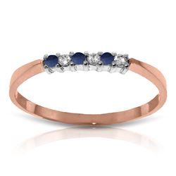 Genuine 0.11 ctw Sapphire & Diamond Ring Jewelry 14KT Rose Gold - REF-27A5K