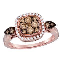0.69 CTW Cognac-brown Color Diamond Square Cluster Bridal Ring 14KT Rose Gold - REF-89K9W