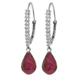 Genuine 6.9 ctw Ruby & Diamond Earrings Jewelry 14KT White Gold - REF-54T5A