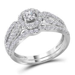 1 CTW Diamond Halo Split-shank Bridal Engagement Ring 14KT White Gold - REF-104H9M