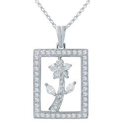 1.49 CTW Diamond & Marquise Pendant 18K White Gold - REF-145R2K