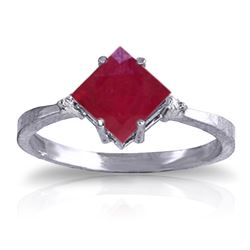 Genuine 1.46 ctw Ruby & Diamond Ring Jewelry 14KT White Gold - REF-32K3V