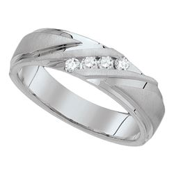 0.16 CTW Mens Diamond Channel-set Anniversary Ring 10KT White Gold - REF-41X9Y