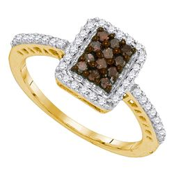 0.45 CTW Cognac-brown Color Diamond Rectangle Cluster Ring 10KT Yellow Gold - REF-25Y4X