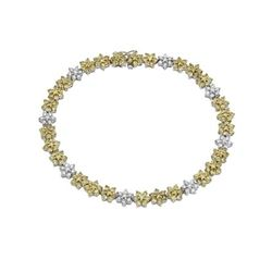 6 CTW Yellow Sapphire & Diamond Bracelet 14K White Gold - REF-105N9Y