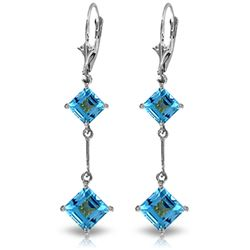 Genuine 3.75 ctw Blue Topaz Earrings Jewelry 14KT White Gold - REF-30Z6N