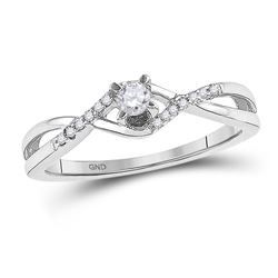 0.16 CTW Diamond Solitaire Bridal Engagement Ring 10KT White Gold - REF-19K4W