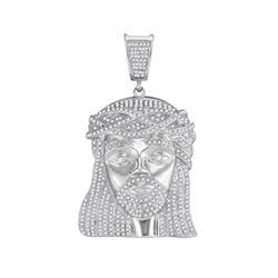 1.9 CTW Mens Diamond Jesus Head Pendant 10KT White Gold - REF-112K5W