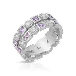 0.93 CTW Pink Sapphire & Diamond Ring 18K White Gold - REF-83H3M