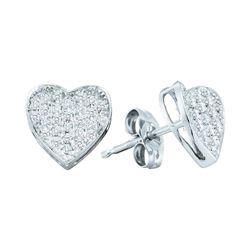 0.20 CTW Diamond Concave Heart Screwback Earrings 10KT White Gold - REF-19N4F
