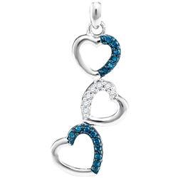 0.17 CTW Blue Color Diamond Triple Cascading Heart Pendant 10KT White Gold - REF-13X4Y