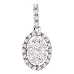 0.50 CTW Diamond Oval Cluster Pendant 14KT White Gold - REF-44X9Y