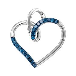 0.15 CTW Blue Color Diamond Heart Pendant 10KT White Gold - REF-10F5N